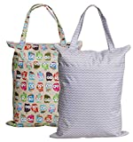Large Zippered Hanging Wet Dry Bag with Snap Tote Handle for Reusable Cloth