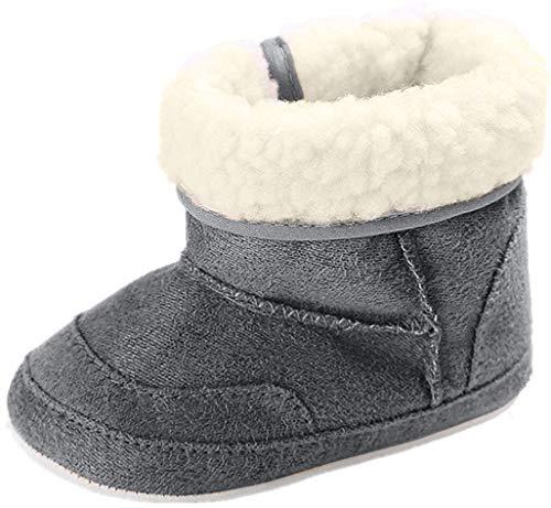 Zapatos de bebé Auxma Botas para la Nieve Suave de la suavidad del bebé Zapatos Suaves del Pesebre Botas del niño para 0-6 6-12 12-18 Mes (12cm/6-12 M, Gris Oscuro)