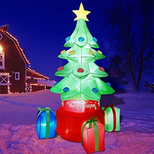 ATDAWN 7ft Inflatable Christmas Tree, Blow Up Christmas Tree Decorations, Outdoor Christmas Inflatables, Spinning Xmas Inflatable Tree for Christmas Indoor Outdoor Yard Garden Party Decorations