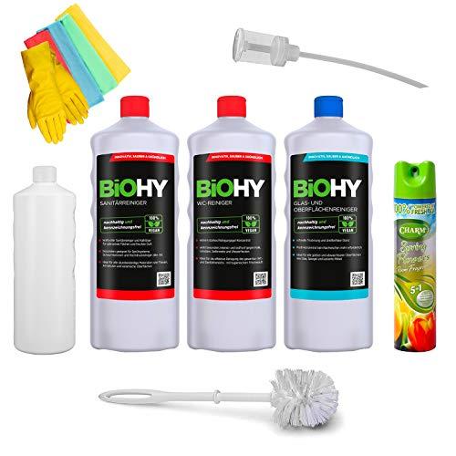 BIOHY WC/Sanitärreiniger Komplett Reinigungset Öko Urinsteinentferner | Extra stark | Toilettenreiniger Konzentrat | dickflüssiges Gel | Profi Bio-Reiniger | Reinigungsmittel