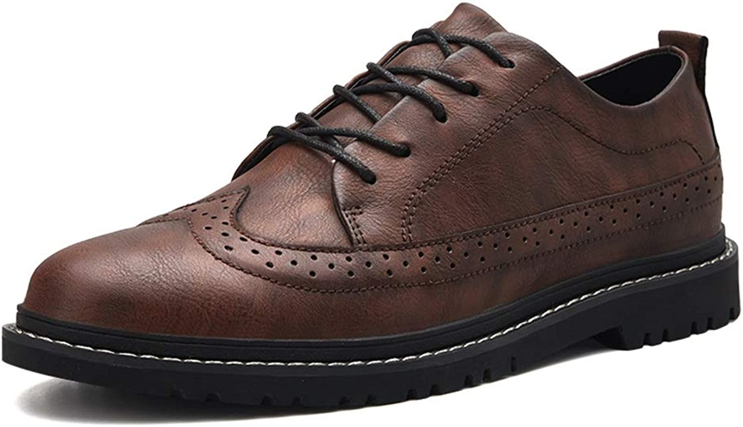 SCSY-Oxford shoes Men's Simple Fashion Oxford Casual Classic Carving Breathable British Style Brogue shoes