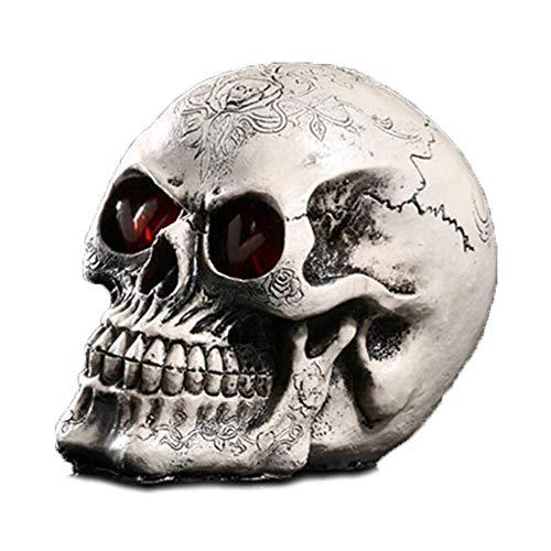 VOANZO Halloween-LED-Schädel-Licht, Nachtlicht, Totenkopf-Ornament mit LED-Augen, Schreibtischlampe für Bartisch, coole Geburtstagsüberraschung, Gothic-Party-Dekoration (ohne Batterie)