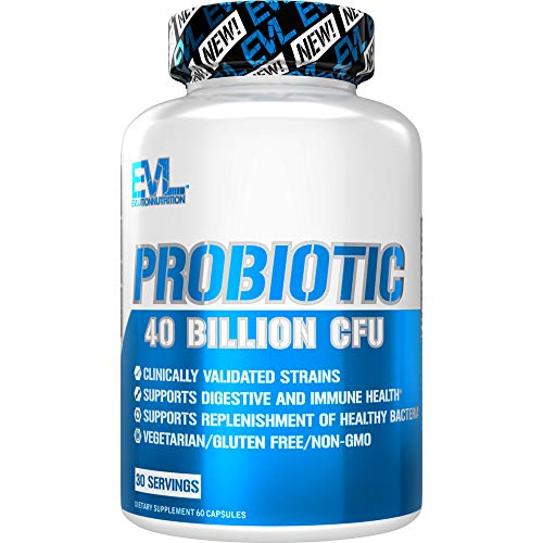 Evlution Nutrition Probiotic - 60 Probiotic Veggie Capsules - 40 Billion CFUs per Serving - Easy to Swallow Probiotic Supplement