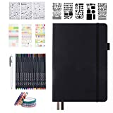 Bullet Dotted Journal Kit, Feela A5 Dotted Bullet Grid Journal Set with 224 Pages Black Notebook, Fineliner Colored Pens, Stencils, Stickers, Washi Tape, Black Pen for Diary Schedule Planner Draw