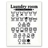 PGbureau 11x14 in Laundry Room Decor – Wall Art Symbols Poster – Laundry Decoration – Room Sign (White)