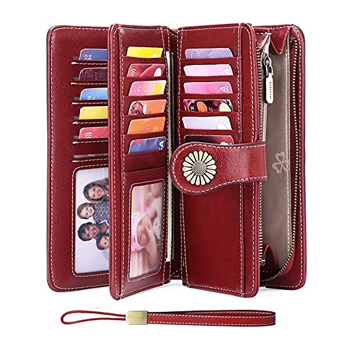 Leather Wallets for Women RFID Blocking Zip Around Credit Card Holder Phone Wristlet Clutch with 17 Card Slots 2 ID Window Slim Fashion Bifold Credit Card Holder Wallet for Travel and Work