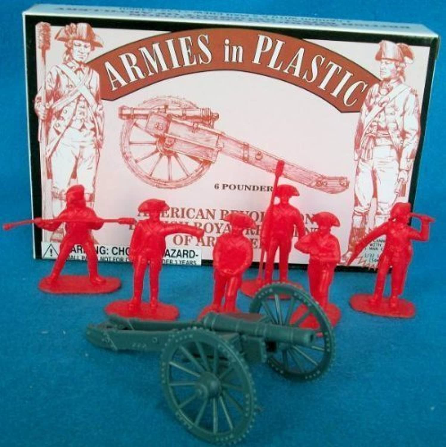 American Revolution British Royal Regiment of Artillery Crew (5) w Cannon 1 32 Armies in Plastic by Armies in Plastic