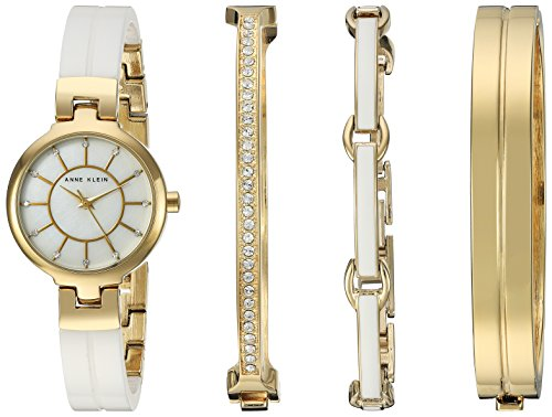 Anne Klein Women's AK/2048GXST Swarovski Crystal Accented Gold-Tone and White Ceramic Watch and Brac