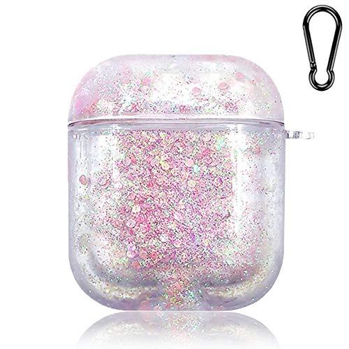 SGVAHY Bling Quicksand Hülle kompatibel mit Airpods 1 und 2, Luxus Glitzer Flüssigkeit Pailletten Klar Harte Schutzhülle mit Schlüsselanhänger Kabellose Ladebox für Mädchen Frauen (Pink)