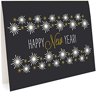 Golden New Year Holiday Cards, 10-Pack by Night Owl Paper Goods