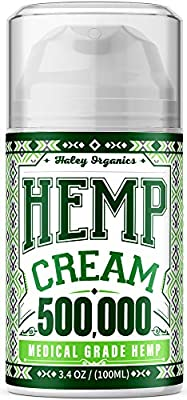 Pain Relief Hemp Cream 500,000 - Relieves Arthritis Pain, Muscle and Joint Pain, Lower Back and Knees Pain - Anti Inflammatory Cream - Made in USA - Grown & Made in USA - Non-GMO - 100ML from Haley Organics