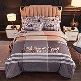 juegos de sábanas 105 x 190-Planta espesa cepillada cachemira dormitorio de estudiantes cama doble individual individual Navidad funda nórdica king-size funda de almohada para niño regalo-R_Cama de 1