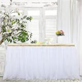 Haperlare 9ft Tablecloth White Tulle Table Skirt Tulle White Tablecloth Tutu Tablecloth Skirting with Gold Brim for Wedding Party Baby Shower Christmas Birthday Banquet Table Decorations,3 Yards