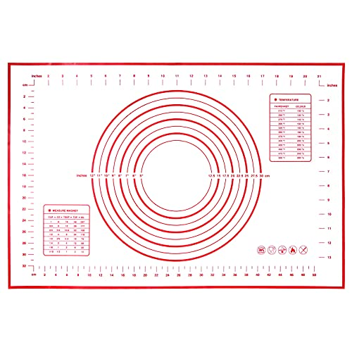 SIAMHOO Alfombrilla de silicona para hornear reutilizable y antideslizante, con medición, 60 x 40 cm