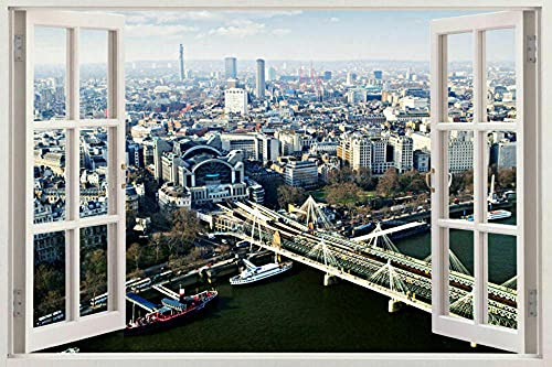 Wall Sticker - 3D- View Urban Scape Window View Wall Stickers Huge Art Decal City Decals Mural - 50x70 cm