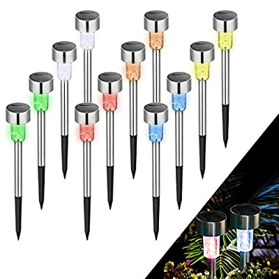 KODOO Solar Garden Lights Outdoor, 6Color 12Pack Stainless Steel Led Pathway Lights for Patio, Lawn, Yard and Walkway
