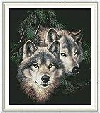 Wolf DIY Costura hecha a mano contada 11CT Impreso Kit de bordado de punto de cruz Set Decoraci¨n del hogar