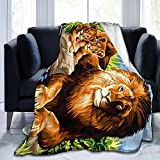 Blankets Ultra Soft Throw Blankets Warm Cozy Fleece Blankets All Seasons Sofa Cover for Kids Teens Fuzzy Luxury Bed Blanket for Living Room Couch School Outdoors, (King Lion Family Blue Sky) 50'x40'