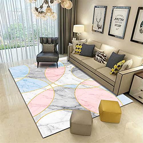 Alfombras alfombras Salon Textura de mármol Gris Azul Rosa patrón semicircular Curvado...