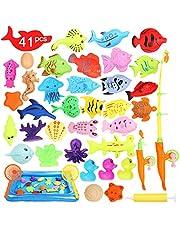 Ucradle Magnetisk fiskekleksak, 41 st vattentät magnet fiskespel pedagogisk badleksak lekset, bra gåva för Todders barn med fiskar, 2 polespön, 2 nät, 1 uppblåsbar pool och 1 uppblåsare