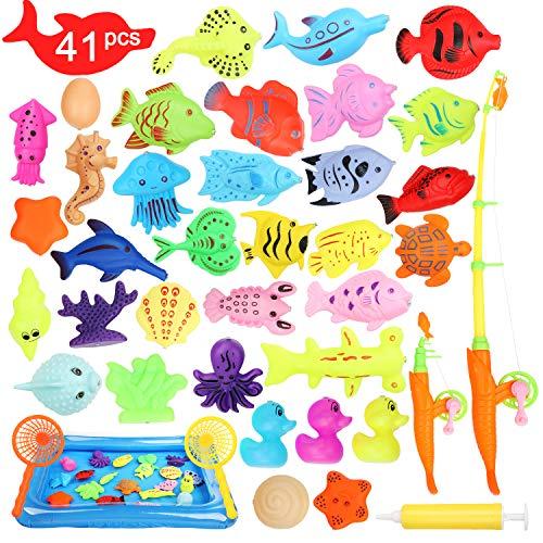Ucradle Magnetisches Angeln spielzeug, 41 Stück Wasserdichte Magnet Angelspiel Pädagogisches Badespielzeug Spielset, Tolles Geschenk Für Kleinkinder Kindern spielzeug