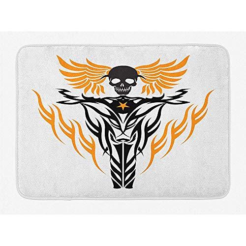LAURE Motorrad Tribal inspiriertes Tattoo Design Fliegender Schädel am Steuer Coole Vibes Teppiche Teppiche rutschfeste Matten für den Spielraum