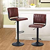MAISON ARTS Bar Stools Set of 2 for Kitchen Counter Swivel Adjustable Barstools with Back Counter Height Modern Bar Chairs for Kitchen Island Water Resistant Faux Leather, 300 LBS Capacity, Brown