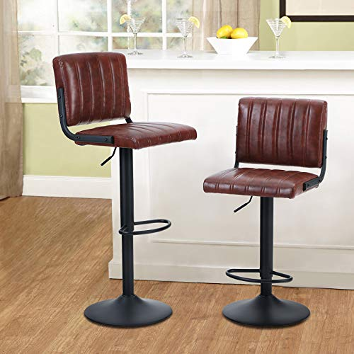 MAISON ARTS Swivel Bar Stools Set of 2 for Kitchen Counter Adjustable Barstools with Back Counter Height Modern Bar Chairs for Kitchen Island Water Resistant Faux Leather, 300 LBS Capacity, Brown