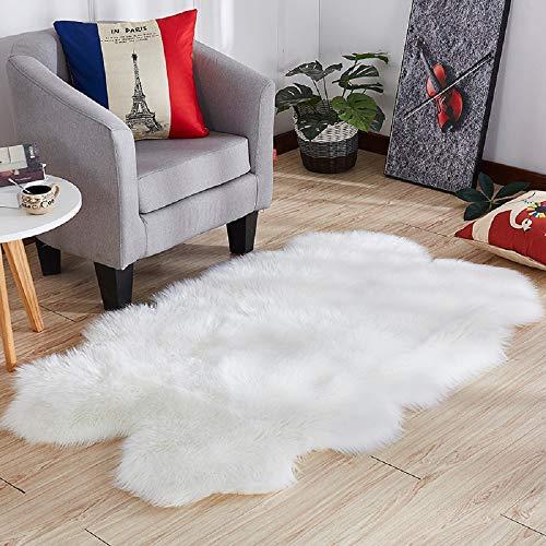 HEBE Faux Fur Rug 4'x6' Large White Sheepskin Shag Area Rugs Thick Plush Throw Rug Carpet for Living Room Bedroom Baby Nursery Childrens Room Rug