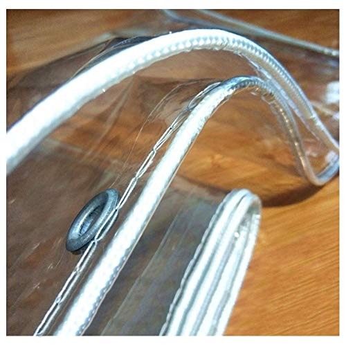 WUZMING Lona Transparente 0.5mm Súper Grueso Al Aire Libre Lonas Impermeables con Ojal PVC Anti-envejecimiento Terraza Plantas Hortícolas (Color : Clear-0.5mm, Size : 1.8x2.5m)