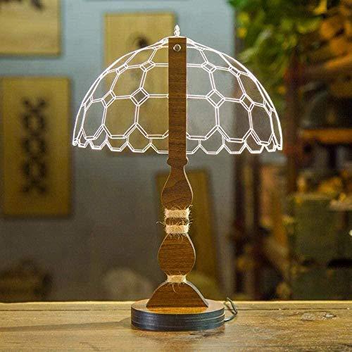 Creativa lámpara de escritorio LED con puerto USB regulable visual en 3D con arco nódico moderno y material acrílico en forma de hexágono y base de madera para decorar la sala de estar del dormitorio