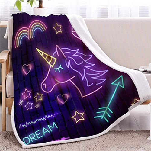 Manta de Tiro de Unicornio púrpura Manta Peluda Luminosa Colcha de Felpa Colorida Ropa de Cama de luz arcoíris Manta de Lana Edredón 150 * 200cm