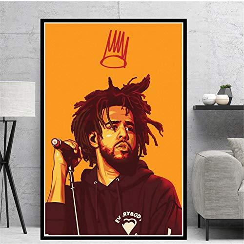 arteWOODS Kendrick Lamar 2Pac Tupac J Cole Travis Scoot Rapper Stars Poster Prints Wall Art Pictures Decoración para el hogar 50x70cm sin Marco