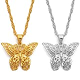 Anniyo Charms Butterfly Pendant Chain Necklaces Women Girl Silver Color/Gold Color Butterflies Jewelry Trendy PNG Gifts #006209P