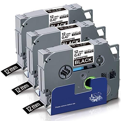 UniPlus Nastro per Etichette Compatibile In sostituzione di Brother P-touch TZe 12mm Laminato Tape Cassetta TZe-335 TZ 335 per PT H107 1000 H105 1010 Cube P300BT H110 H100LB (Bianco su Nero, 3Pz)