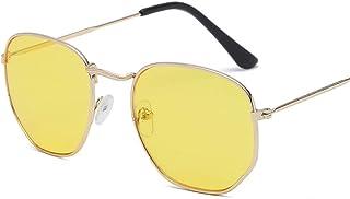 FJCY - Gafas de Sol de aviación con Lentes Planas hexagonales para Hombre, Nuevas Gafas de Sol de conducción con Espejo Rosa y Retro para mujer-Xyy706-C4