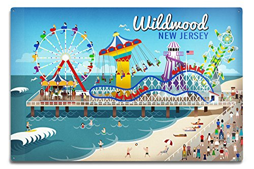 Lantern Press Wildwood, New Jersey - Retro Beach Boardwalk 49819 (6x9 Aluminum Wall Sign, Wall Decor Ready to Hang)
