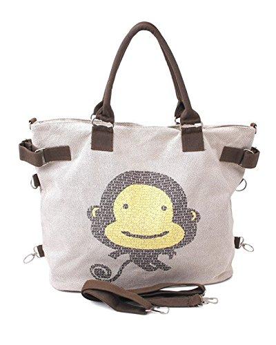 Allcam Medium Canvas Messenger Bag/College University Laptop Bag Satchel for Women And Girls in Beige w/Shoulder Strap