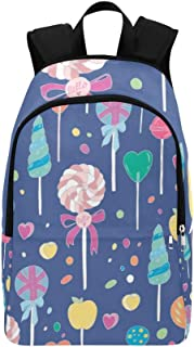 Sweet Hand Drawn Lollipops Casual Daypack Travel Bag College School Backpack for Mens and Women