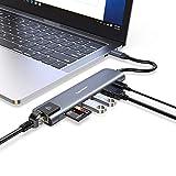 Hub USB C,Vemont 7 en 1 Tipo C Adaptador USB C a HDMI 4K,1 Gbps Ethernet RJ45,100W PD, 2 Puertos Datos USB 3.0,lectores de Tarjetas SD/TF,Compatible con MacBook Pro/Air,XPS y más Dispositivo USB C