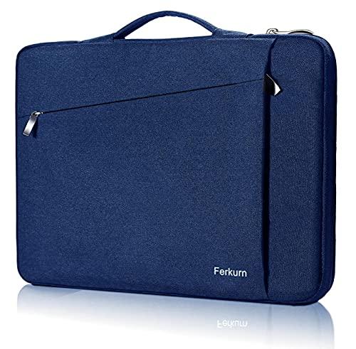 Ferkurn Laptop-Hülle mit Tragegriff für MacBook 15, Surface Laptop, Tinkpad, HP Envy Chromebook Probook Pavilion, Inspiron, Asus, wasserdicht, Blau