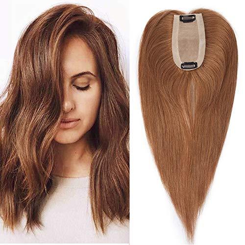 Clip in Extensions Echthaar Toupet für Frauen 100% Human Hair Natürlich Weich Haarteil mit 6 * 13cm Seide Basis 30cm 06# Hellbraun