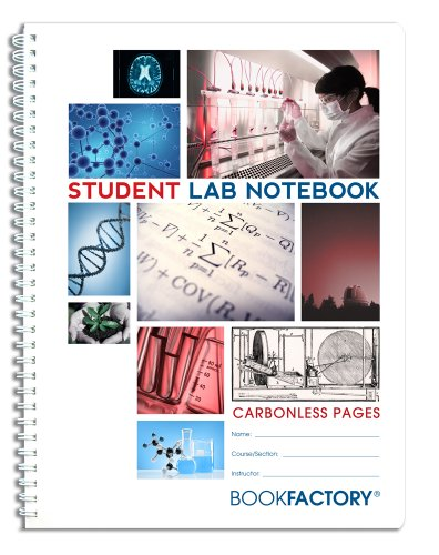 "BookFactory Carbonless Student Lab Notebook - 25 Sets of Pages (8.5"" X 11"") (Duplicator) - Scientific Grid Pages, Durable Translucent Cover, Wire-O Binding (LAB-025-7GW-D (Student))"