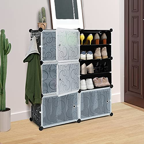 Portable Shoe Rack Organizer, 6-Tier Plastic Cube Storage Tower Shelves for 24 pairs of shoes, Modular Cabinet for Hallway Bedroom Closet Entryway, Black