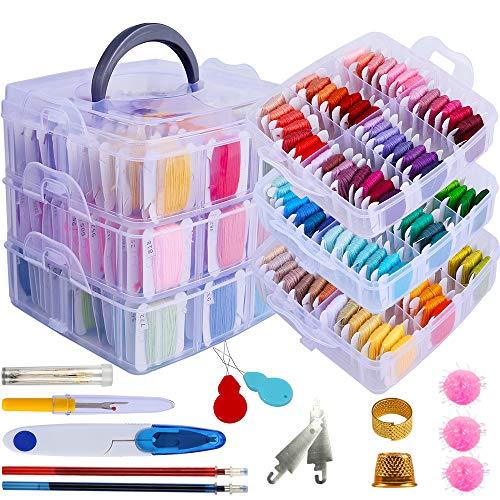 Juego de 212 hilos para bordar, incluye 150 colores, hilo para pulseras de la amistad y 62 herramientas de punto de cruz, caja transparente de 3 niveles para almacenamiento