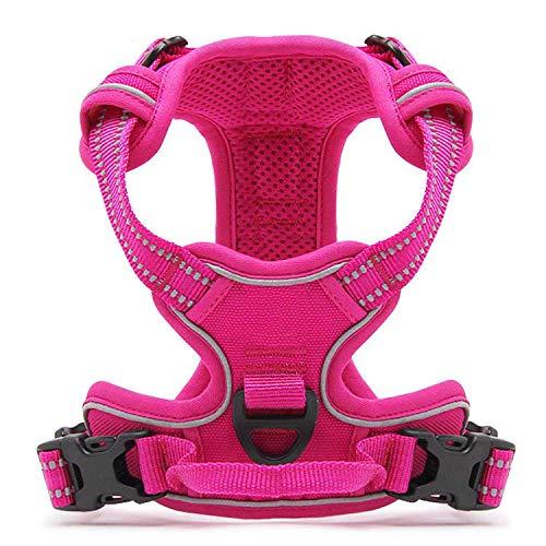 PETTOM Hundegeschirr Weiche Mesh Atmungsaktiv Einstellbare 3M Reflektierende Nylon Geschirr für Kleine Mittlere Große Hunde ((L:Chest Size:69-81 cm), Pink)