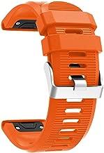 26mm Watchband for Garmin Fenix 5X Plus 3 3 HR Watch Quick Release Silicone Easy fit Smartwatch Wrist Band Strap (Orange)