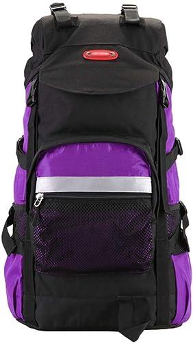 CHHUWAI Sac à Dos de randonnée Sac à Dos Sac de Voyage pour Sac à Dos Sac à Dos Oxford Textile Travel Tamper imperméable Mme et Les Hommes, Violet 45L   60L, Violet (Taille   60 l)