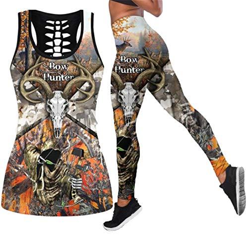 CONPLWS Animal Bow Deer Colorful Women Hollow Tanktop + Legging 3D Print Ocio Sexy Chaleco