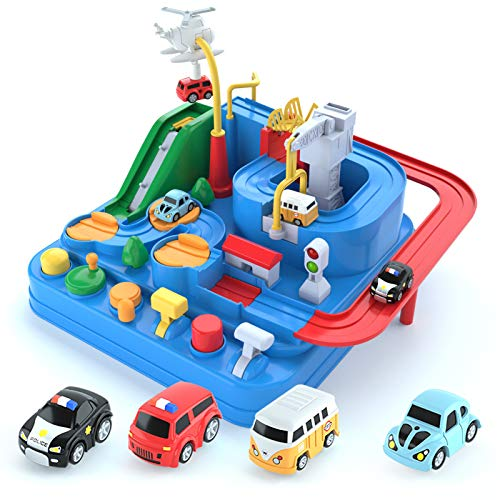 Crazy Adventure Car Toddler Kids Toys for Age 2 3 4 5 6 Year Old Boys Girls Birthday Gift Race Tracks Car Playset Kids Puzzles Matchbox Preschool Educational Games Police Car Ambulance School Bus